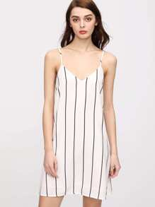 Double V Striped Cami Dress