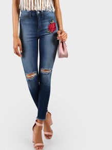 High Rise Embroidered Skinnies DENIM