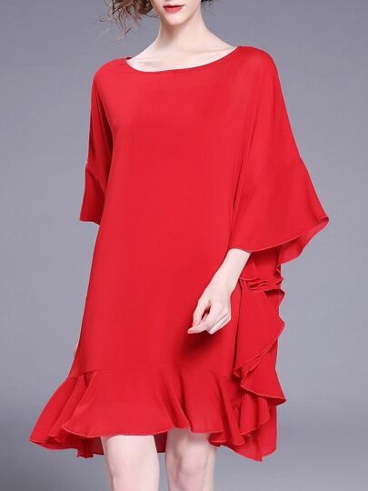 Batwing Sleeve Ruffle Dress