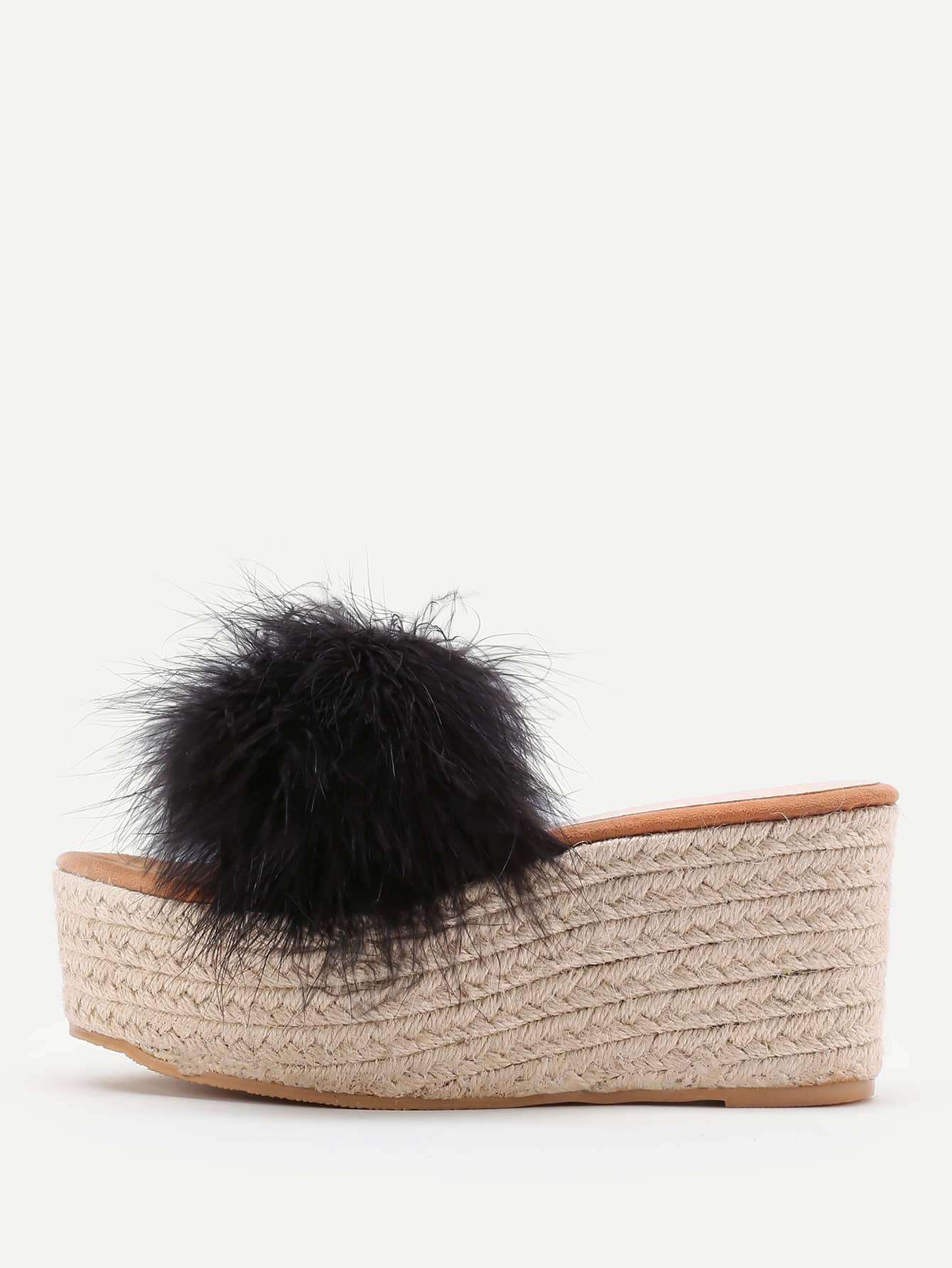 Фото Faux Fur Embellished Woven Wedge Sandals. Купить с доставкой
