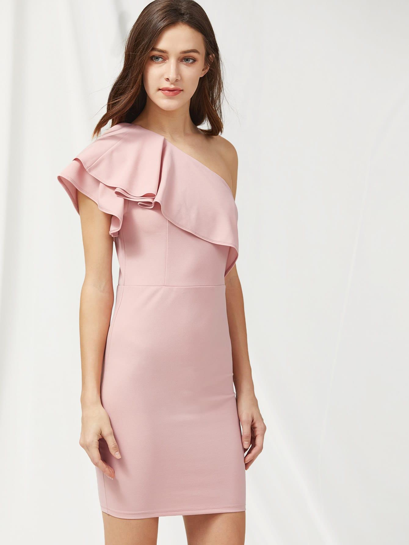 Фото Flounce One Shoulder Zip Side Tailored Dress. Купить с доставкой