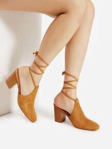 Sandalias de tacón alto con tiras cruzadas con dedo cerrado