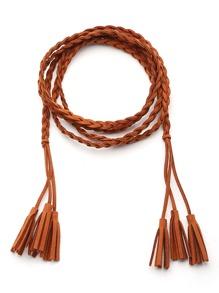 Cinturón con cordón trenzado con borlas