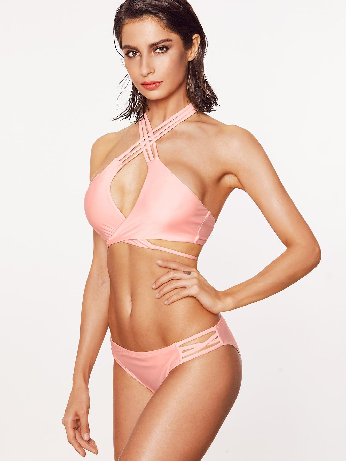 Pink Crisscross Halter Neck Tie Front Bikini Set swimwear170210301