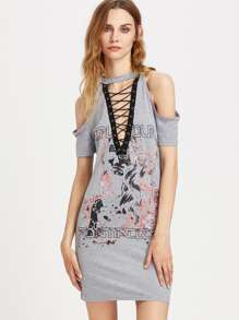 Plunging Eyelet Lace Up Rock Dress