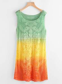Ombre Embroidered Mesh Tank Dress