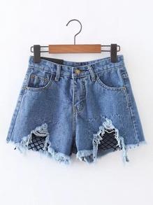Shorts de malla en contraste en denim