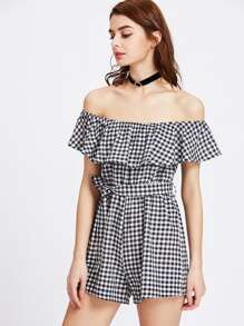 Flounce Layered Neckline Gingham Self Tie Romper