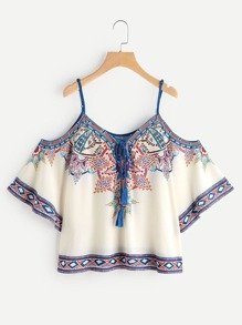 Aztec Print Cold Shoulder Lace Up Top