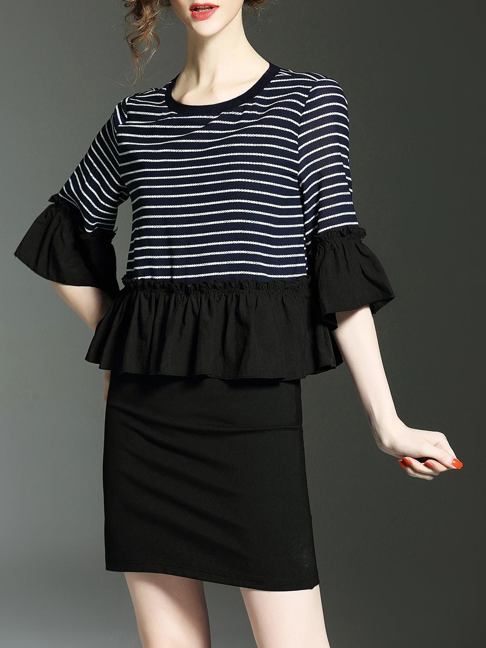 Фото Color Block Striped Bell Sleeve Sheath Dress. Купить с доставкой