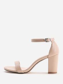 Sandalias de tacón cuadrado en dos partes