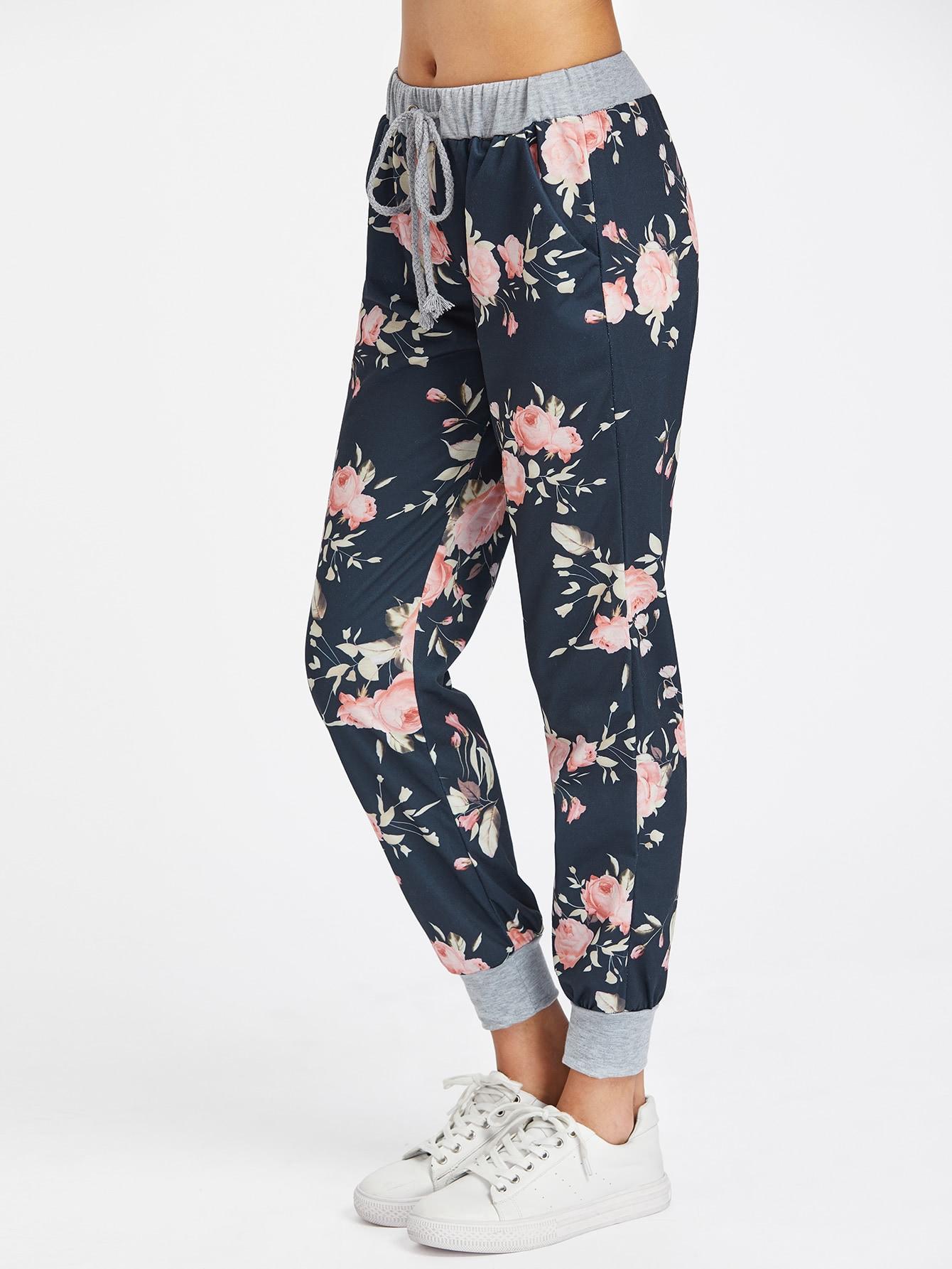 Купить Модные брюки на кулиске с цветочным принтом, Carolina, SheIn