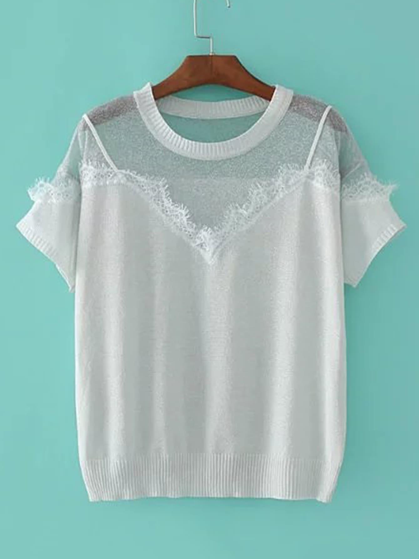 Contrast Lace 2 In 1 Knitwear sweater170426201