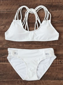 Cutout Detail Strappy Bikini Set