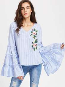 Exaggerated Tiered Bell Sleeve Embroidered Striped Top
