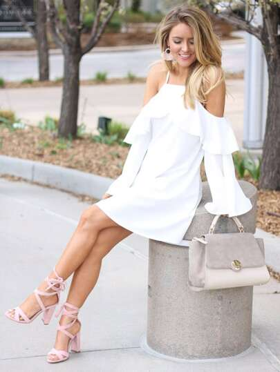 Flounce Detail Cold Shoulder Dress