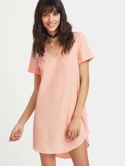 Pink V Neck High Low Curved Dress pictures