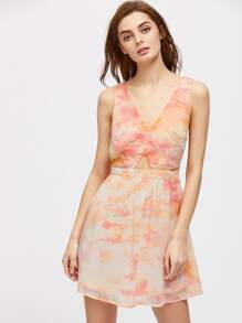 Plunging V-Neckline Tie-dye Strappy Dress