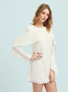 Pleated Flounce Trim Dress