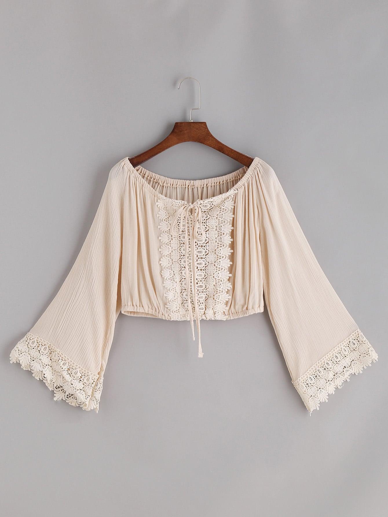 Boat Neckline Crochet Lace Trim Tie Top boat neckline striped blouse with buttons