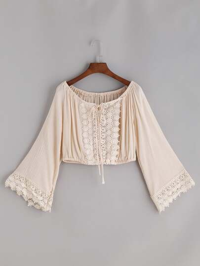Boat Neckline Crochet Lace Trim Tie Top