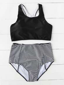 Pinstripe High Waist Tankini Set