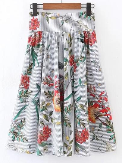 Falda plisada con cinturilla ancha línea A