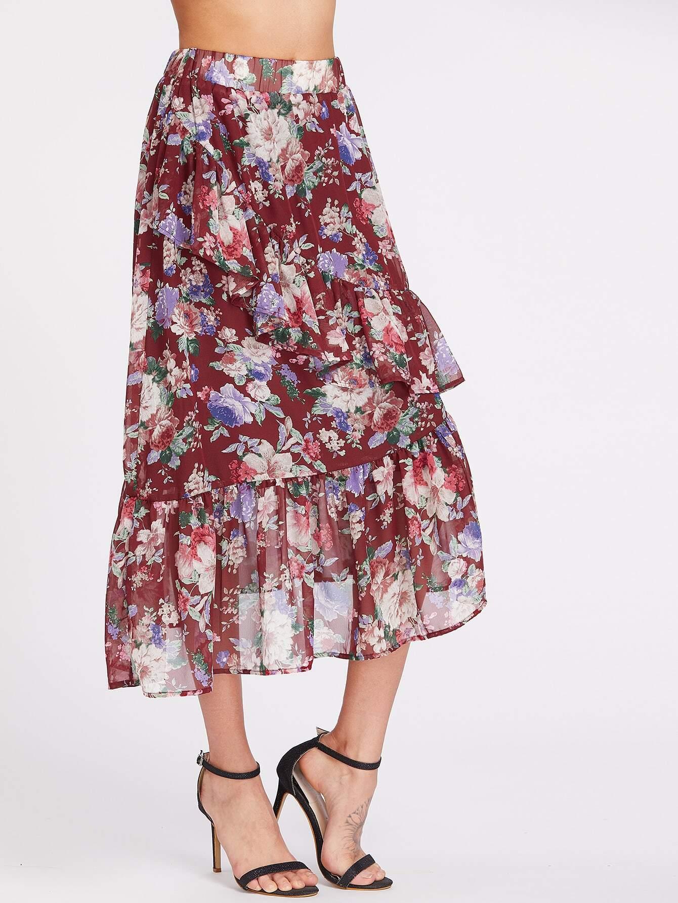 Flower Cluster Print Asymmetric Frill Skirt skirt170411451