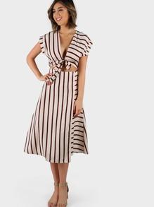 Striped Wrap Front Midi Dress BURGUNDY