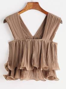 Exaggerated Frill Sleeveless Top