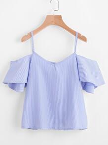 Cold-Shoulder Bluse mit Nadetstreifen