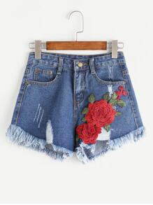 Ripped Appliques Frayed Hem Denim Shorts
