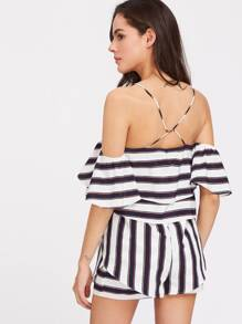 Beading Strappy Back Striped Flounce Playsuit pictures