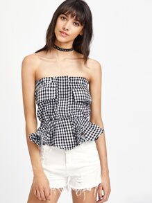 Strapless Gingham Frill Detailed Crop Top