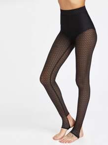 High Waist Dot Lace Stirrup Leggings