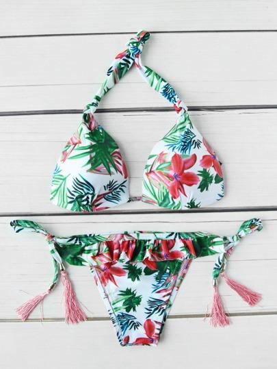 Tropical Print Frill Trim Tassel Tie Bikini Set