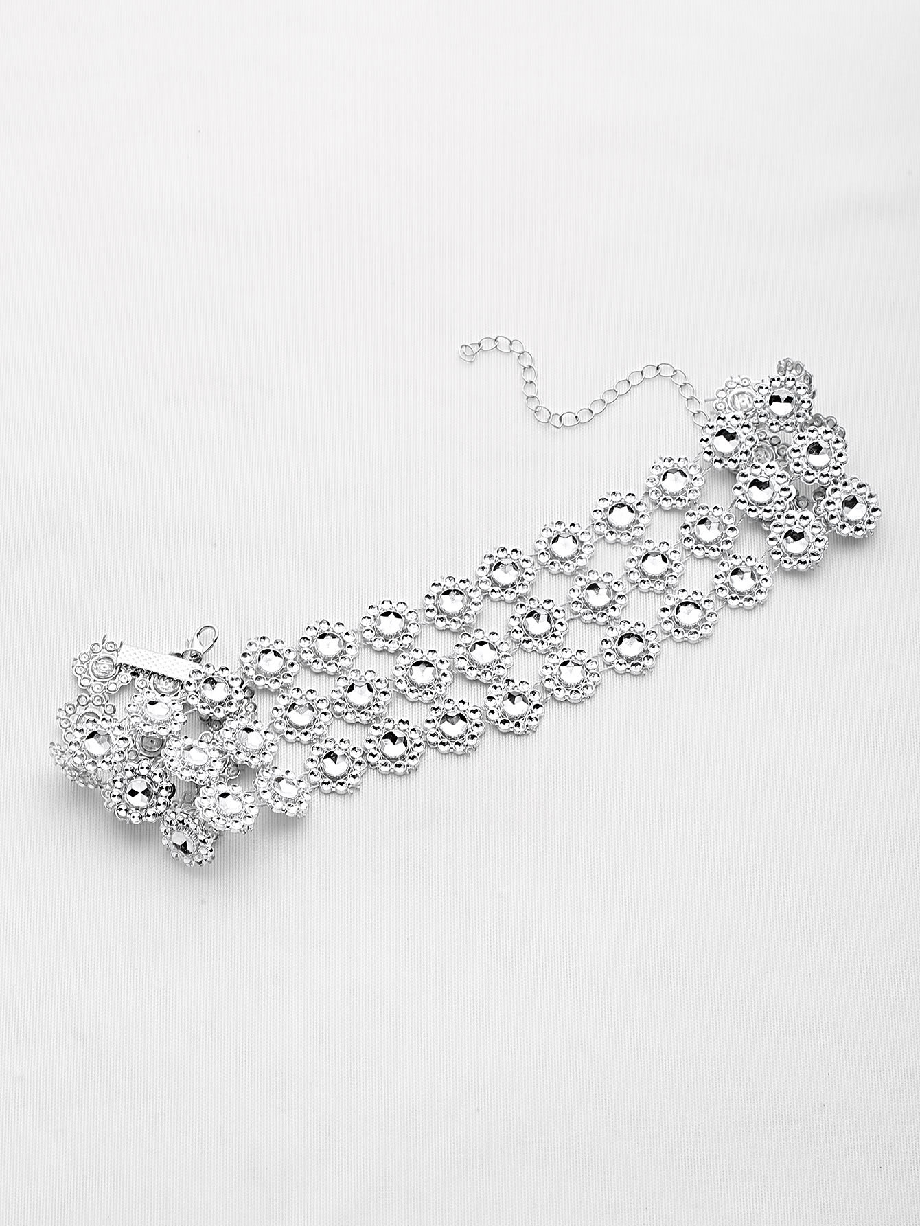 Фото Rhinestone Detail Flower Layered Choker. Купить с доставкой
