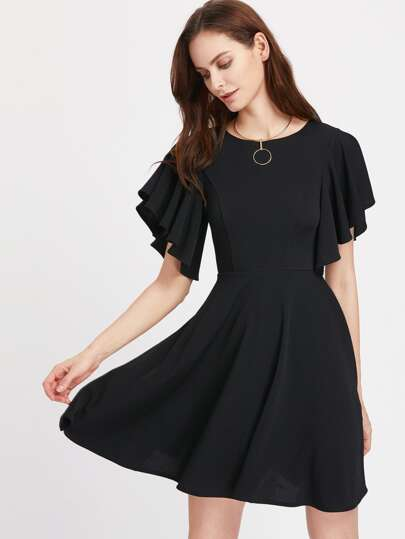 Princess Seam Flutter Sleeve Skater Dress