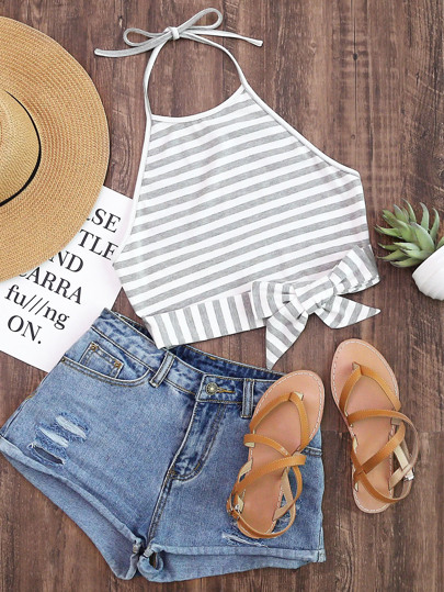 Striped Knot Front Crop Halter Top