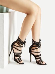 Sandales croisé à talons aiguilles avec des nœuds papillon