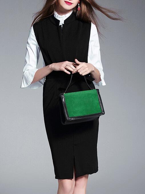 Фото Black Bell Sleeve Shirt Two-pieces Sheath Dress. Купить с доставкой