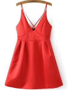 Criss Cross Bib Zipper Back Cami Dress