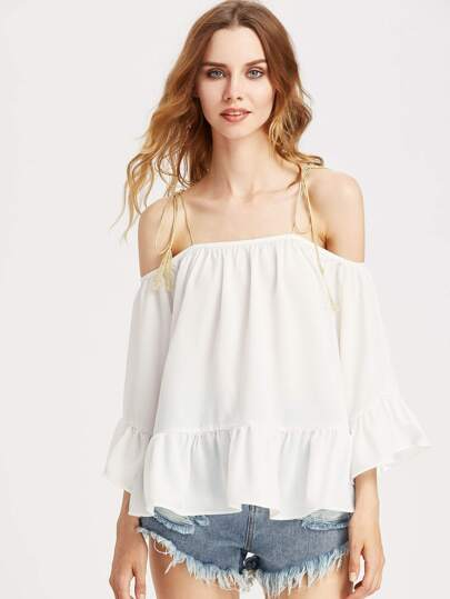 Self Tie Shoulder Bell Sleeve Ruffle Hem Top