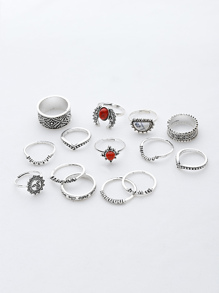 Rojo y blanco de piedra turquesa anillos vintage conjunto
