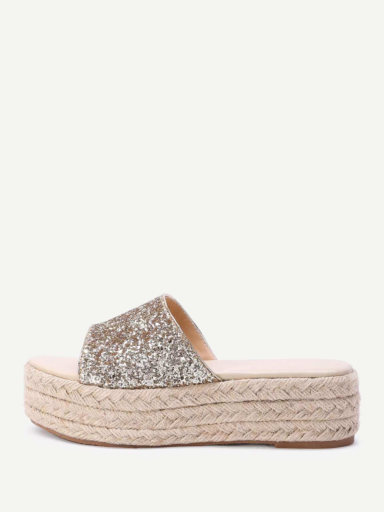 Фото Glitter Design Woven Flatform Sandals. Купить с доставкой