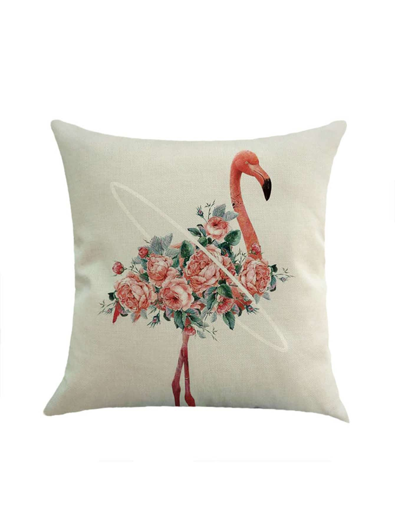 Flower & Flamingo Print Pillowcase Cover