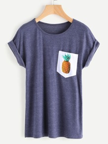 Space Dye Pineapple Print Cuffed Tee