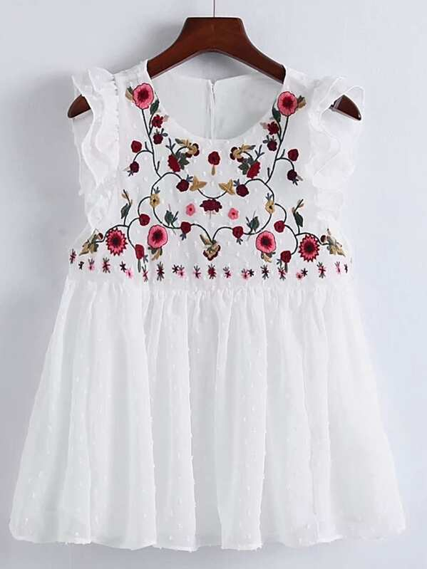 Embroidery Floral Ruffle Cuff Smock Top, null