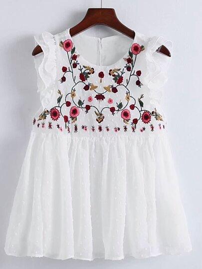 Модный плиссированный топ со сборкой и цветочной вышивкой