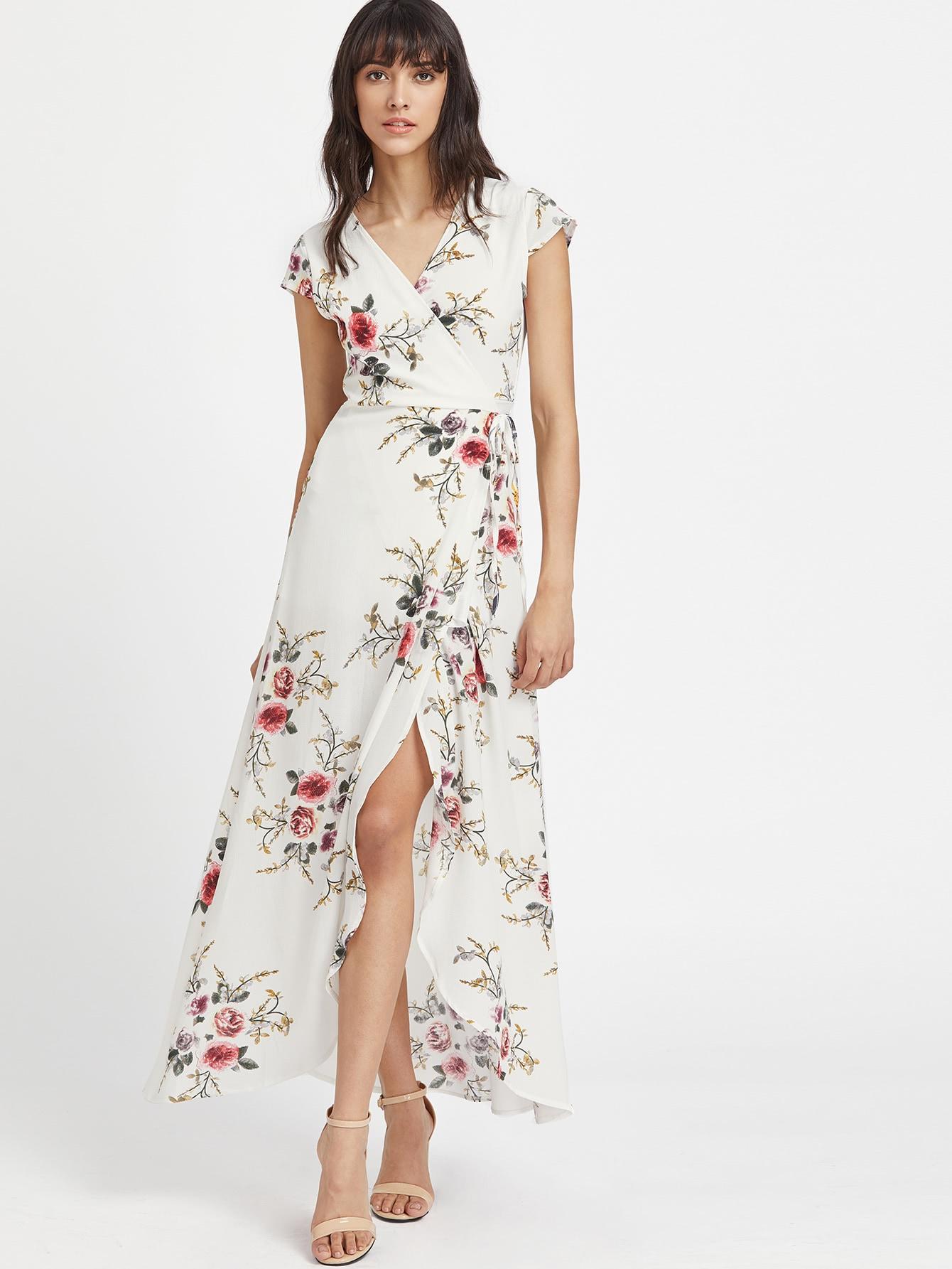 V Neckline Calico Print Slit Side Full Length Dress two tone letter print full length dress